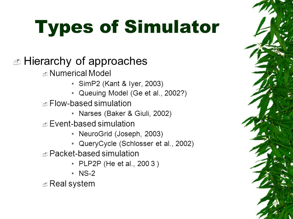 Types of Simulator Hierarchy of approaches Numerical Model SimP2 (Kant & Iyer, 2003) Queuing Model (Ge et al., 2002 ) Flow-based simulation Narses (Baker & Giuli, 2002) Event-based simulation NeuroGrid (Joseph, 2003) QueryCycle (Schlosser et al., 2002) Packet-based simulation PLP2P (He et al., 200 ) NS-2 Real system