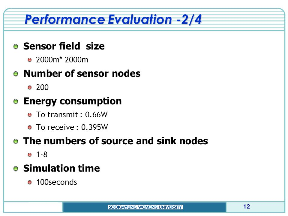 Performance Evaluation -2/4 Sensor field size 2000m* 2000m Number of sensor nodes 200 Energy consumption To transmit : 0.66W To receive : 0.395W The numbers of source and sink nodes 1-8 Simulation time 100seconds 12