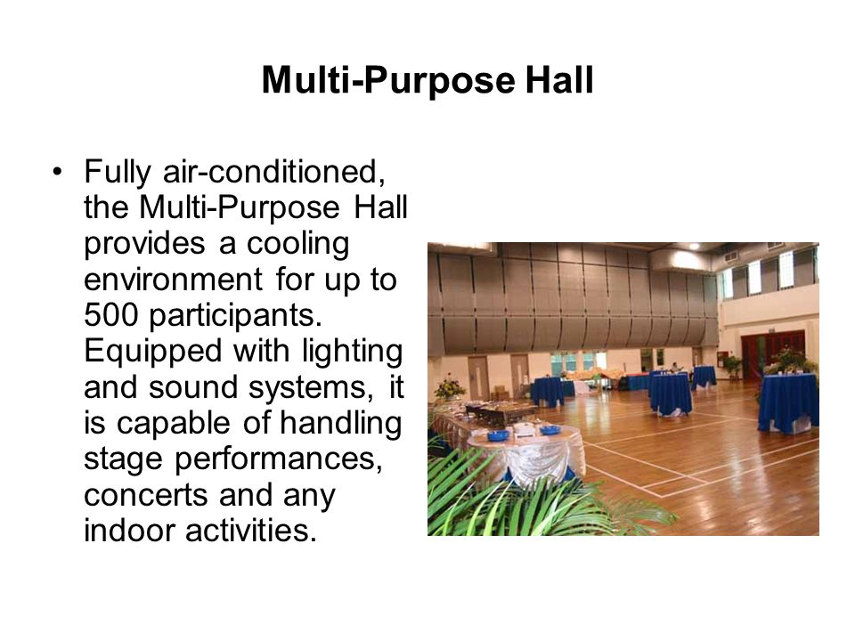 Multi-Purpose Hall Fully air-conditioned, the Multi-Purpose Hall provides a cooling environment for up to 500 participants.
