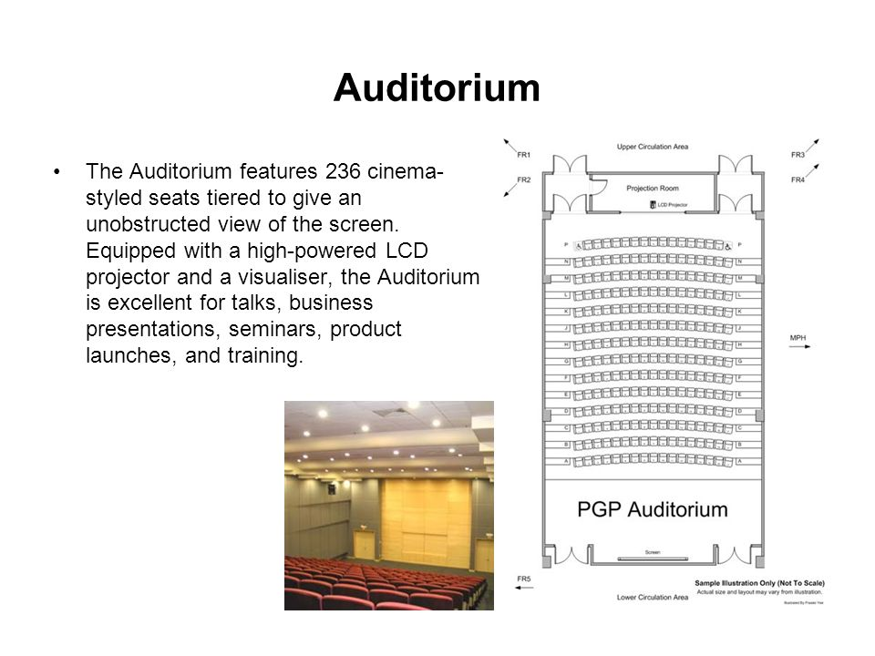 Auditorium The Auditorium features 236 cinema- styled seats tiered to give an unobstructed view of the screen.