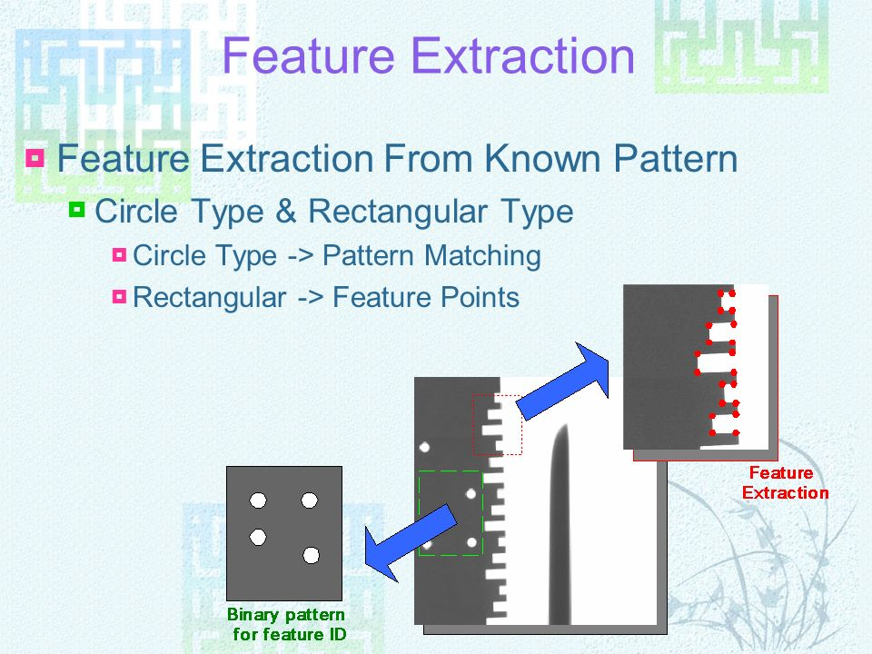 Feature Extraction Feature Extraction From Known Pattern Circle Type & Rectangular Type Circle Type -> Pattern Matching Rectangular -> Feature Points