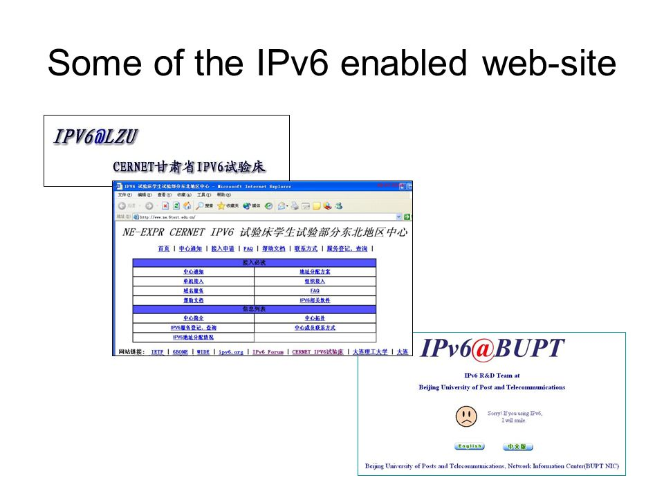Some of the IPv6 enabled web-site
