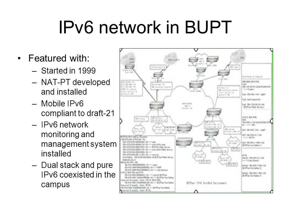 IPv6 network in BUPT Featured with: –Started in 1999 –NAT-PT developed and installed –Mobile IPv6 compliant to draft-21 –IPv6 network monitoring and management system installed –Dual stack and pure IPv6 coexisted in the campus