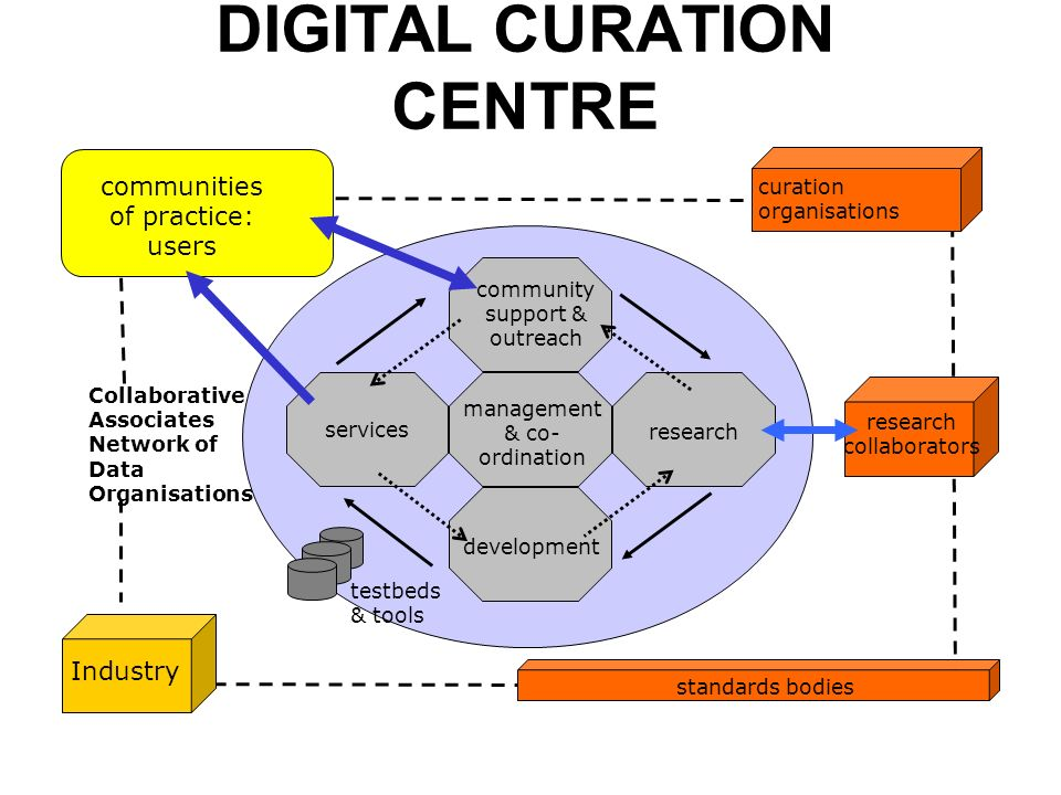 DIGITAL CURATION CENTRE Industry research collaborators standards bodies testbeds & tools communities of practice: users community support & outreach research development services management & co- ordination curation organisations Collaborative Associates Network of Data Organisations