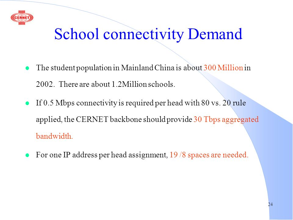 24 School connectivity Demand l The student population in Mainland China is about 300 Million in 2002.