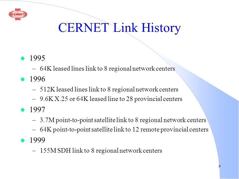9 CERNET Link History l 1995 –64K leased lines link to 8 regional network centers l 1996 –512K leased lines link to 8 regional network centers –9.6K X.25 or 64K leased line to 28 provincial centers l 1997 –3.7M point-to-point satellite link to 8 regional network centers –64K point-to-point satellite link to 12 remote provincial centers l 1999 –155M SDH link to 8 regional network centers
