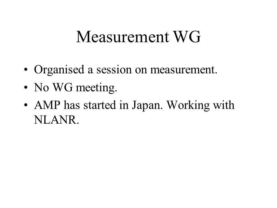 Measurement WG Organised a session on measurement.