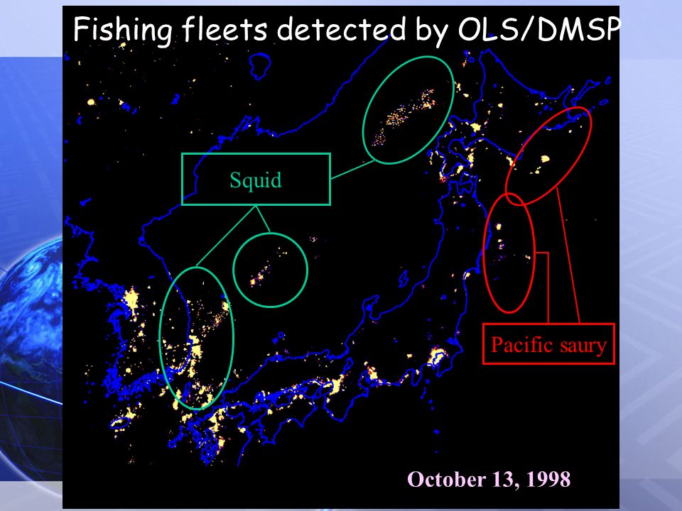 October 13, 1998 Squid Pacific saury Fishing fleets detected by OLS/DMSP