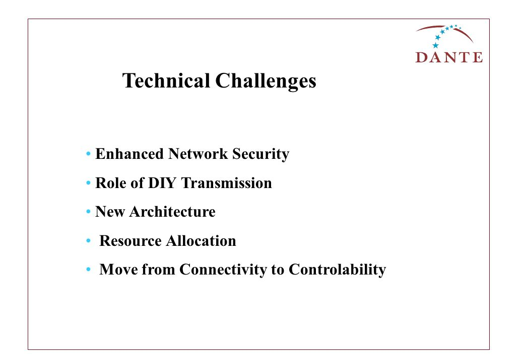 Enhanced Network Security Role of DIY Transmission New Architecture Resource Allocation Move from Connectivity to Controlability Technical Challenges