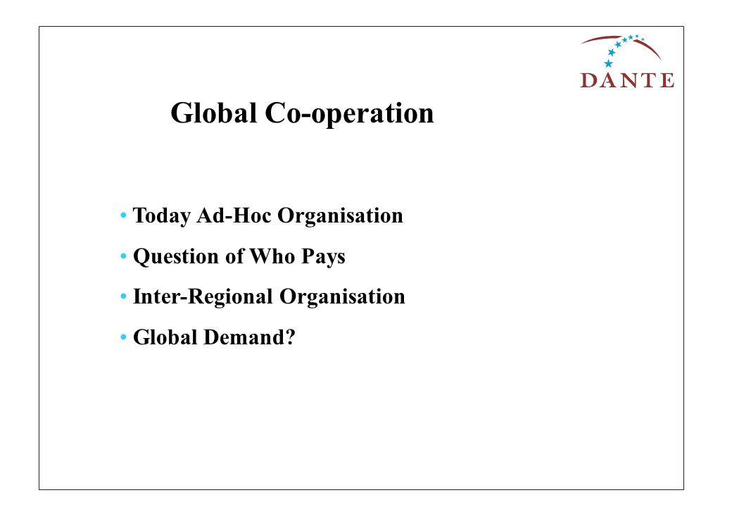 Today Ad-Hoc Organisation Question of Who Pays Inter-Regional Organisation Global Demand.