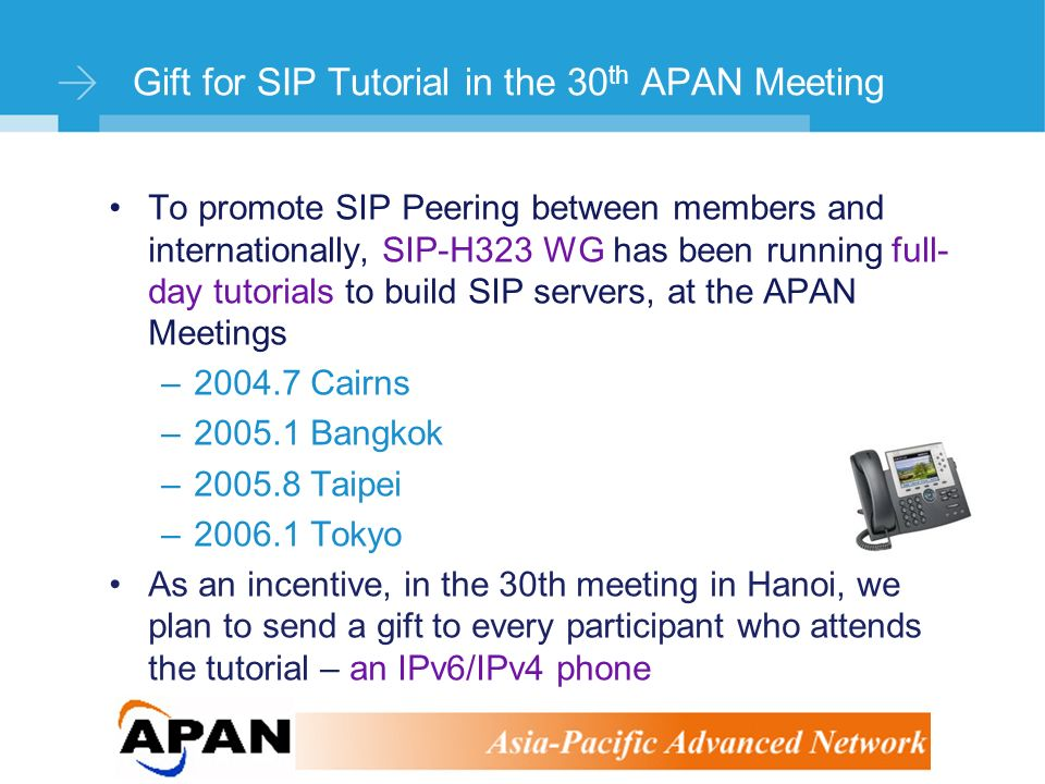 ©Stephen Kingham Gift for SIP Tutorial in the 30 th APAN Meeting To promote SIP Peering between members and internationally, SIP-H323 WG has been running full- day tutorials to build SIP servers, at the APAN Meetings –2004.7 Cairns –2005.1 Bangkok –2005.8 Taipei –2006.1 Tokyo As an incentive, in the 30th meeting in Hanoi, we plan to send a gift to every participant who attends the tutorial – an IPv6/IPv4 phone