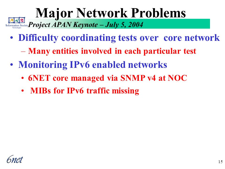 Project APAN Keynote – July 5, 2004 15 Major Network Problems Difficulty coordinating tests over core network –Many entities involved in each particular test Monitoring IPv6 enabled networks 6NET core managed via SNMP v4 at NOC MIBs for IPv6 traffic missing
