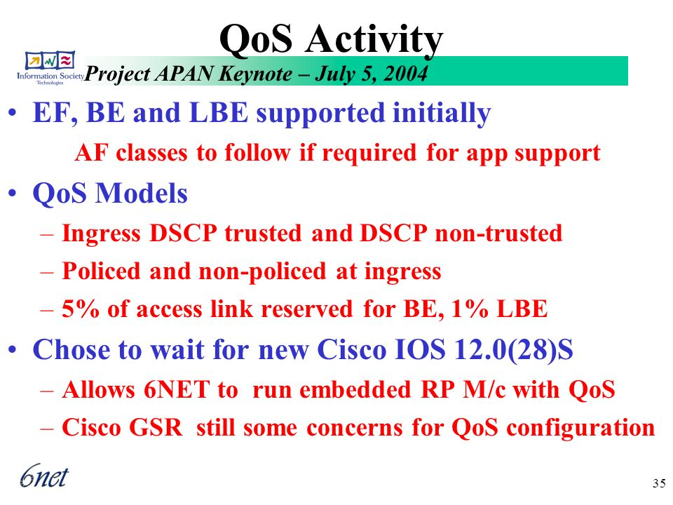 Project APAN Keynote – July 5, 2004 35 QoS Activity EF, BE and LBE supported initially AF classes to follow if required for app support QoS Models –Ingress DSCP trusted and DSCP non-trusted –Policed and non-policed at ingress –5% of access link reserved for BE, 1% LBE Chose to wait for new Cisco IOS 12.0(28)S –Allows 6NET to run embedded RP M/c with QoS –Cisco GSR still some concerns for QoS configuration