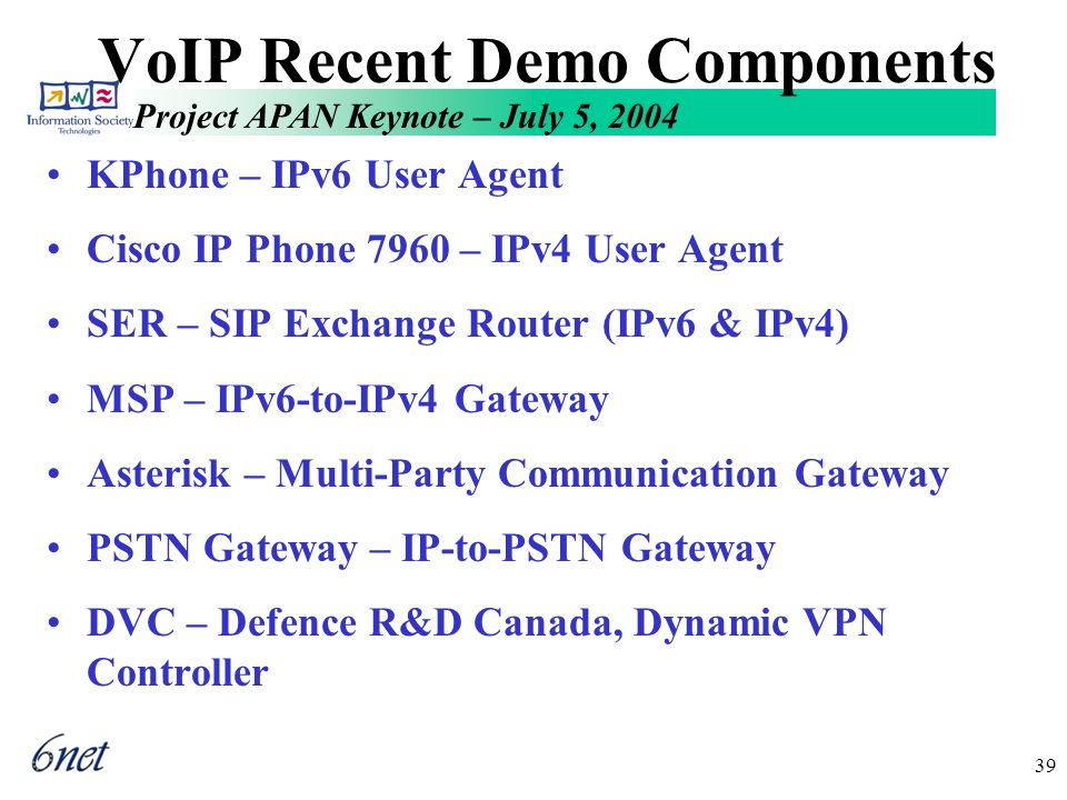 Project APAN Keynote – July 5, 2004 39 VoIP Recent Demo Components KPhone – IPv6 User Agent Cisco IP Phone 7960 – IPv4 User Agent SER – SIP Exchange Router (IPv6 & IPv4) MSP – IPv6-to-IPv4 Gateway Asterisk – Multi-Party Communication Gateway PSTN Gateway – IP-to-PSTN Gateway DVC – Defence R&D Canada, Dynamic VPN Controller