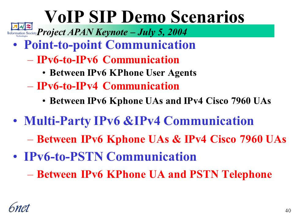Project APAN Keynote – July 5, 2004 40 VoIP SIP Demo Scenarios Point-to-point Communication –IPv6-to-IPv6 Communication Between IPv6 KPhone User Agents –IPv6-to-IPv4 Communication Between IPv6 Kphone UAs and IPv4 Cisco 7960 UAs Multi-Party IPv6 &IPv4 Communication –Between IPv6 Kphone UAs & IPv4 Cisco 7960 UAs IPv6-to-PSTN Communication –Between IPv6 KPhone UA and PSTN Telephone