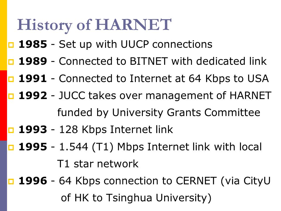 History of HARNET 1985 - Set up with UUCP connections 1989 - Connected to BITNET with dedicated link 1991 - Connected to Internet at 64 Kbps to USA 1992 - JUCC takes over management of HARNET funded by University Grants Committee 1993 - 128 Kbps Internet link 1995 - 1.544 (T1) Mbps Internet link with local T1 star network 1996 - 64 Kbps connection to CERNET (via CityU of HK to Tsinghua University)