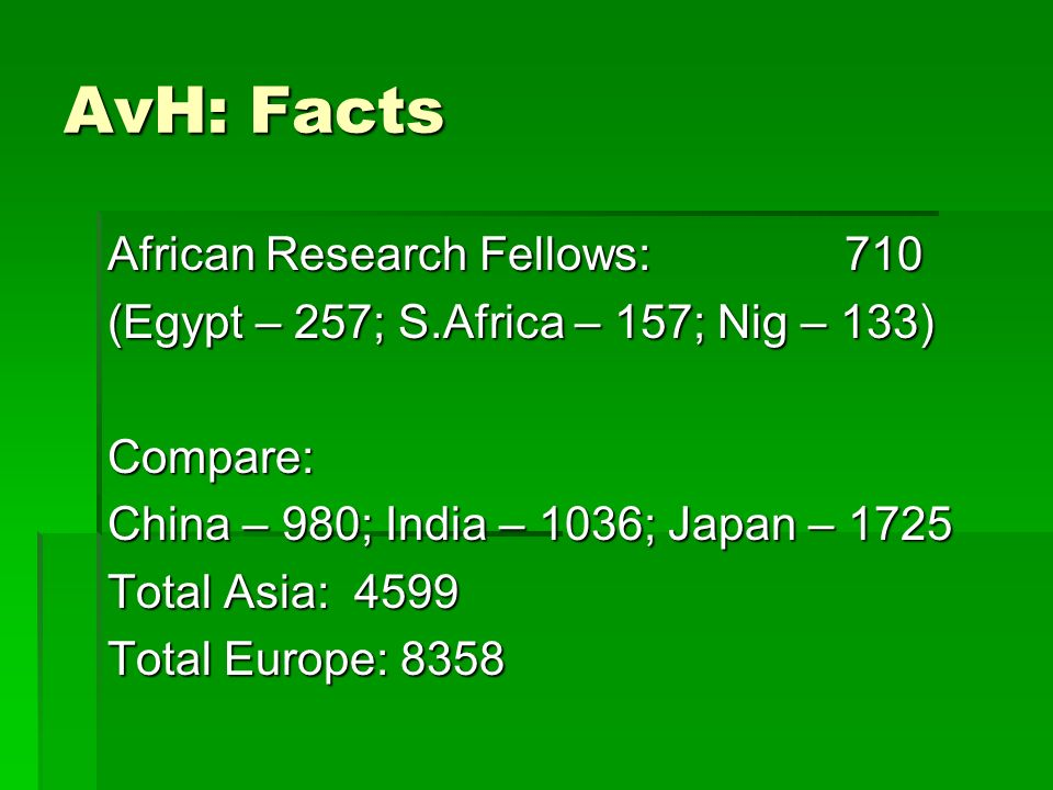 AvH: Facts African Research Fellows:710 (Egypt – 257; S.Africa – 157; Nig – 133) Compare: China – 980; India – 1036; Japan – 1725 Total Asia: 4599 Total Europe: 8358
