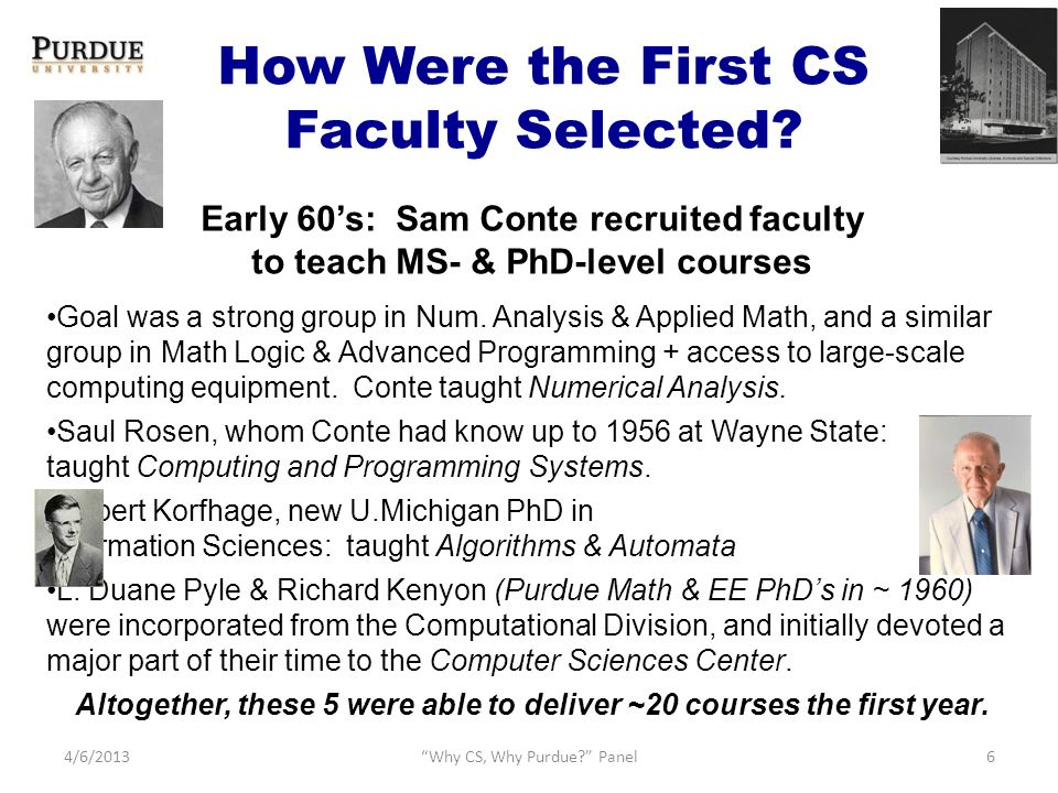 How Were the First CS Faculty Selected.