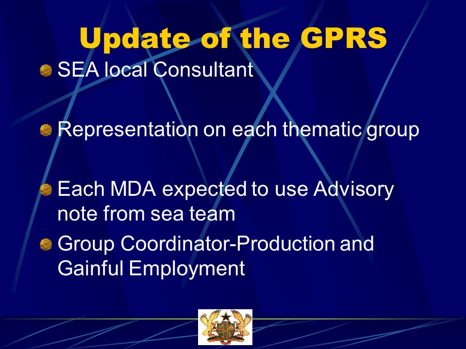 Update of the GPRS SEA local Consultant Representation on each thematic group Each MDA expected to use Advisory note from sea team Group Coordinator-Production and Gainful Employment