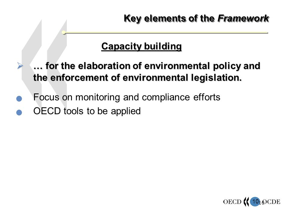 10 Key elements of the Framework Capacity building … for the elaboration of environmental policy and the enforcement of environmental legislation.