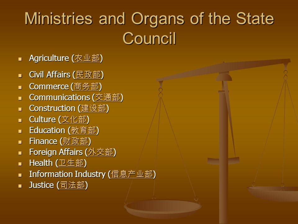 Ministries and Organs of the State Council Agriculture ( ) Agriculture ( ) Civil Affairs ( ) Civil Affairs ( ) Commerce ( ) Commerce ( ) Communications ( ) Communications ( ) Construction ( ) Construction ( ) Culture ( ) Culture ( ) Education ( ) Education ( ) Finance ( ) Finance ( ) Foreign Affairs ( ) Foreign Affairs ( ) Health ( ) Health ( ) Information Industry ( ) Information Industry ( ) Justice ( ) Justice ( )