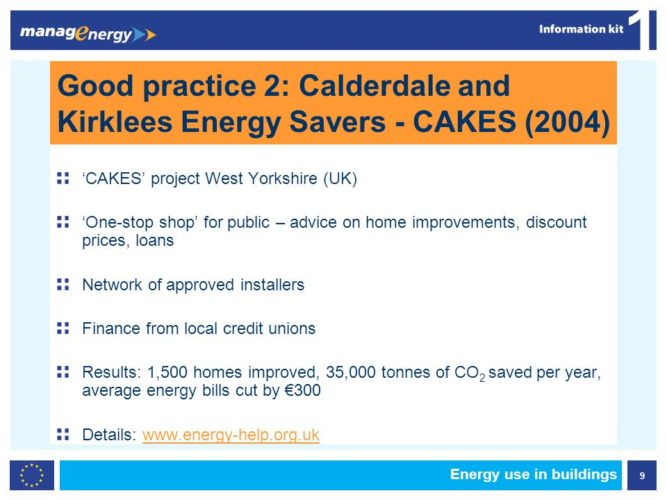 9 1 Energy use in buildings Good practice 2: Calderdale and Kirklees Energy Savers - CAKES (2004) CAKES project West Yorkshire (UK) One-stop shop for public – advice on home improvements, discount prices, loans Network of approved installers Finance from local credit unions Results: 1,500 homes improved, 35,000 tonnes of CO 2 saved per year, average energy bills cut by 300 Details: www.energy-help.org.uk