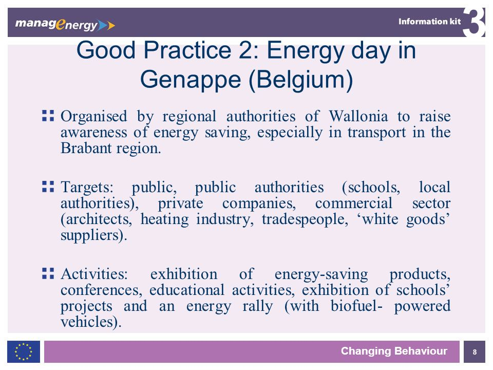8 3 Changing Behaviour Good Practice 2: Energy day in Genappe (Belgium) Organised by regional authorities of Wallonia to raise awareness of energy saving, especially in transport in the Brabant region.