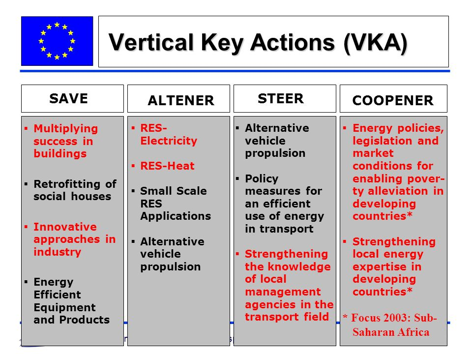 10 Directorate General for Energy and Transport Vertical Key Actions (VKA) SAVE ALTENER STEER COOPENER RES- Electricity RES-Heat Small Scale RES Applications Alternative vehicle propulsion Policy measures for an efficient use of energy in transport Strengthening the knowledge of local management agencies in the transport field Multiplying success in buildings Retrofitting of social houses Innovative approaches in industry Energy Efficient Equipment and Products Energy policies, legislation and market conditions for enabling pover- ty alleviation in developing countries* Strengthening local energy expertise in developing countries* * Focus 2003: Sub- Saharan Africa