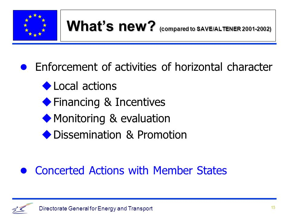 15 Directorate General for Energy and Transport Whats new.