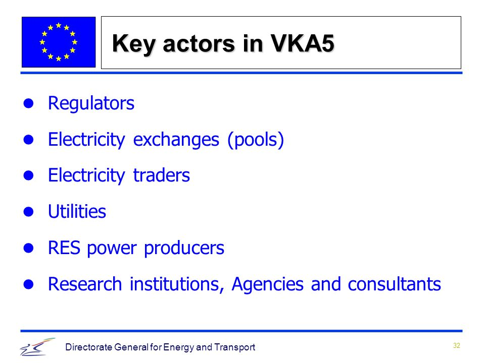 32 Directorate General for Energy and Transport Key actors in VKA5 Regulators Electricity exchanges (pools) Electricity traders Utilities RES power producers Research institutions, Agencies and consultants