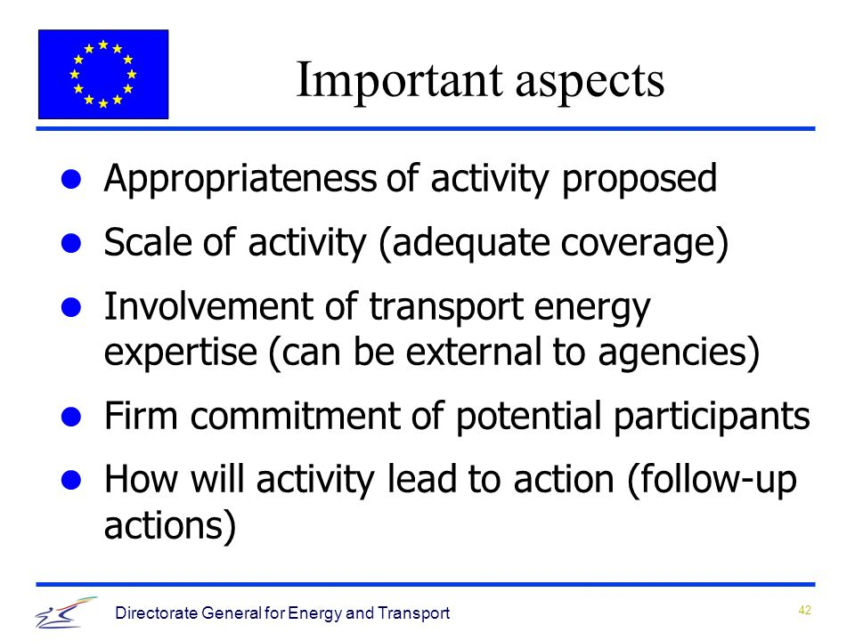 42 Directorate General for Energy and Transport Appropriateness of activity proposed Scale of activity (adequate coverage) Involvement of transport energy expertise (can be external to agencies) Firm commitment of potential participants How will activity lead to action (follow-up actions) Important aspects