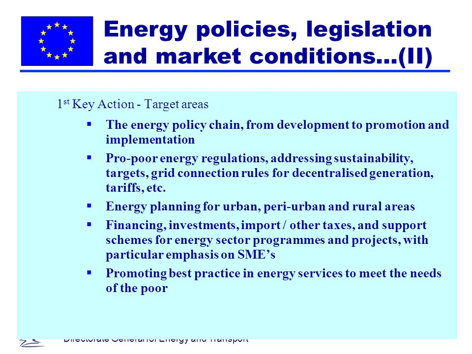 48 Directorate General for Energy and Transport 1 st Key Action - Target areas The energy policy chain, from development to promotion and implementation Pro-poor energy regulations, addressing sustainability, targets, grid connection rules for decentralised generation, tariffs, etc.