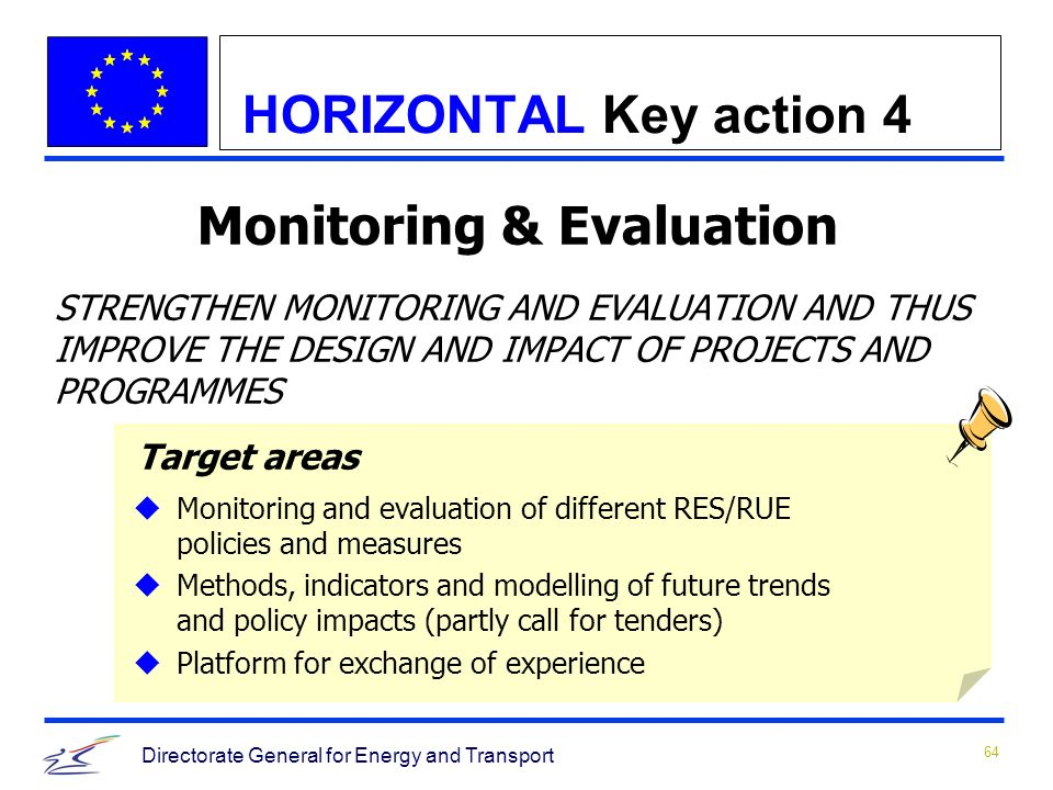 64 Directorate General for Energy and Transport Monitoring & Evaluation STRENGTHEN MONITORING AND EVALUATION AND THUS IMPROVE THE DESIGN AND IMPACT OF PROJECTS AND PROGRAMMES Target areas uMonitoring and evaluation of different RES/RUE policies and measures uMethods, indicators and modelling of future trends and policy impacts (partly call for tenders) uPlatform for exchange of experience HORIZONTAL Key action 4