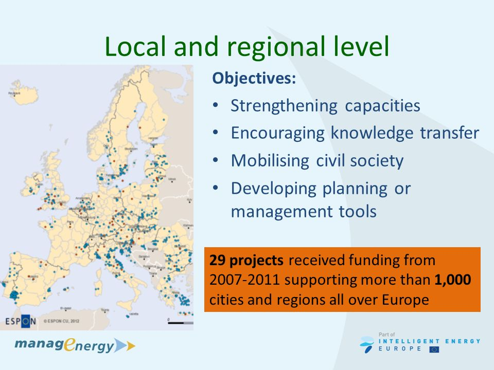 Local and regional level Objectives: Strengthening capacities Encouraging knowledge transfer Mobilising civil society Developing planning or management tools 29 projects received funding from supporting more than 1,000 cities and regions all over Europe