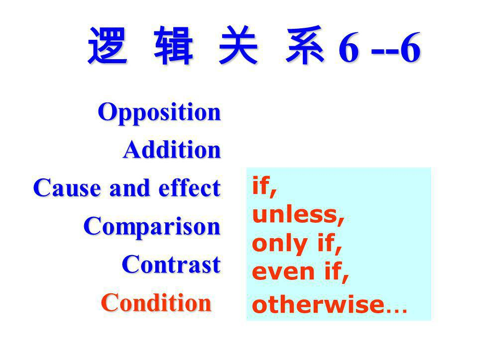 6 --6 6 --6 OppositionAddition Cause and effect ComparisonContrastCondition if, unless, only if, even if, otherwise …