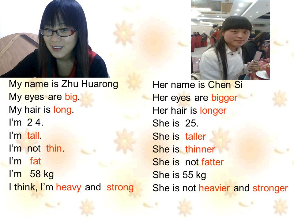 My name is Zhu Huarong My eyes are big. My hair is long.