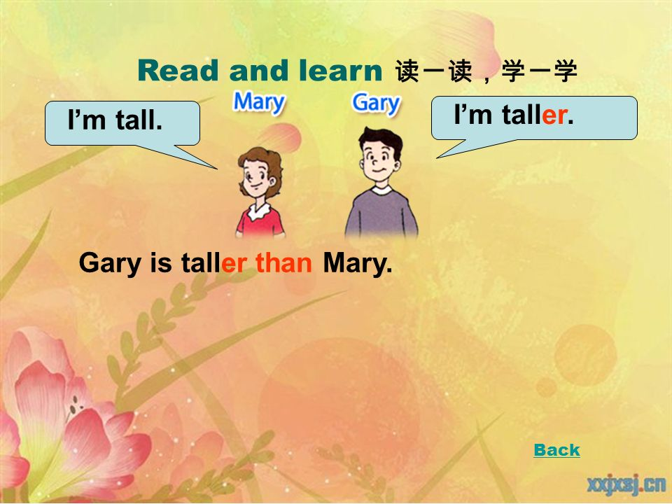 Read and learn Im tall. Im taller. Gary is taller than Mary. Back