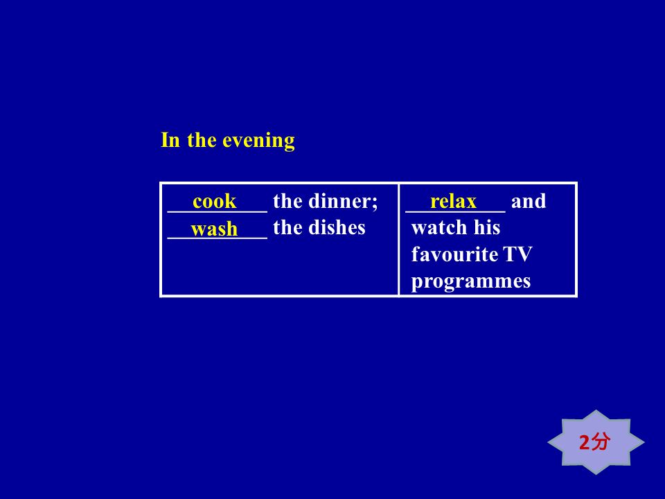 _________ the dinner; _________ the dishes _________ and watch his favourite TV programmes cook wash relax In the evening 2