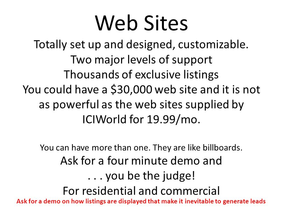 Web Sites Totally set up and designed, customizable.