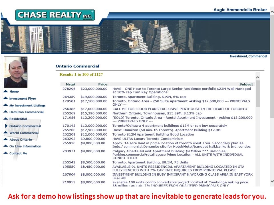 Ask for a demo how listings show up that are inevitable to generate leads for you.