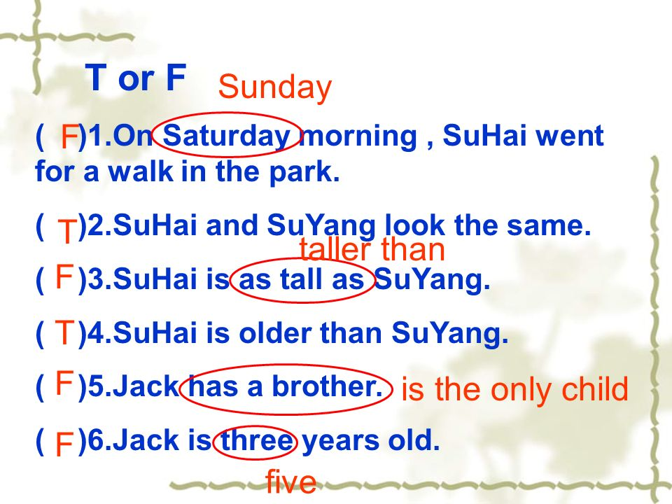 T or F ( )1.On Saturday morning, SuHai went for a walk in the park.