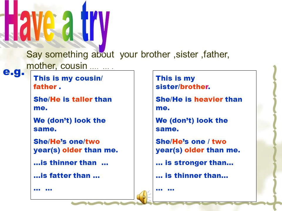 Say something about your brother,sister,father, mother, cousin ….