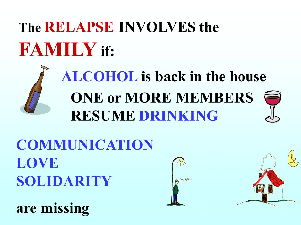 ALCOHOL is back in the house ONE or MORE MEMBERS RESUME DRINKING COMMUNICATION LOVE SOLIDARITY are missing The RELAPSE INVOLVES the FAMILY if: