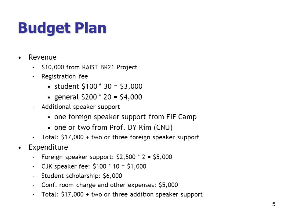 Budget Plan Revenue –$10,000 from KAIST BK21 Project –Registration fee student $100 * 30 = $3,000 general $200 * 20 = $4,000 –Additional speaker support one foreign speaker support from FIF Camp one or two from Prof.