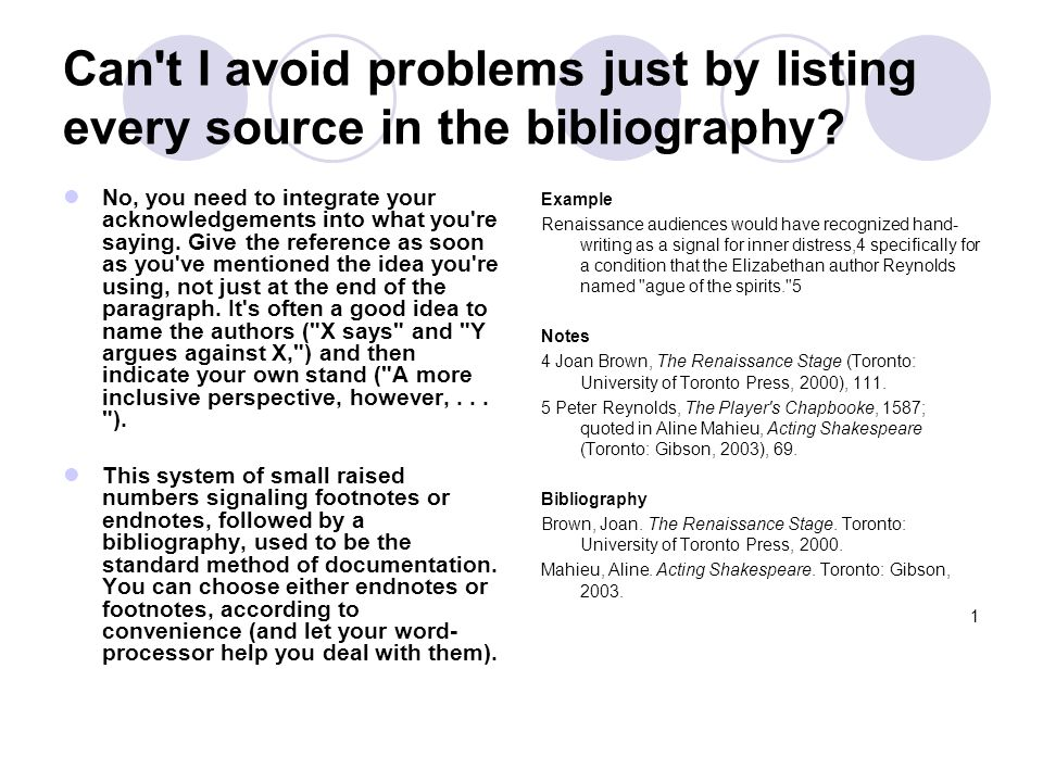 Can t I avoid problems just by listing every source in the bibliography.