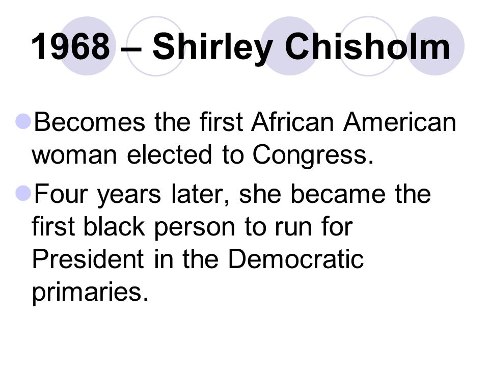 1968 – Shirley Chisholm Becomes the first African American woman elected to Congress.