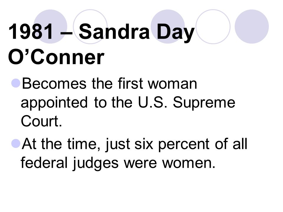 1981 – Sandra Day OConner Becomes the first woman appointed to the U.S.