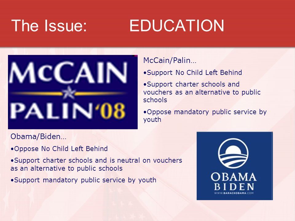 The Issue:EDUCATION McCain/Palin… Support No Child Left Behind Support charter schools and vouchers as an alternative to public schools Oppose mandatory public service by youth Obama/Biden… Oppose No Child Left Behind Support charter schools and is neutral on vouchers as an alternative to public schools Support mandatory public service by youth