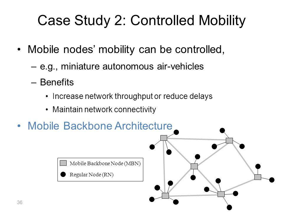 Case Study 2: Controlled Mobility Mobile nodes mobility can be controlled, –e.g., miniature autonomous air-vehicles –Benefits Increase network throughput or reduce delays Maintain network connectivity Mobile Backbone Architecture Mobile Backbone Node (MBN) Regular Node (RN) 36
