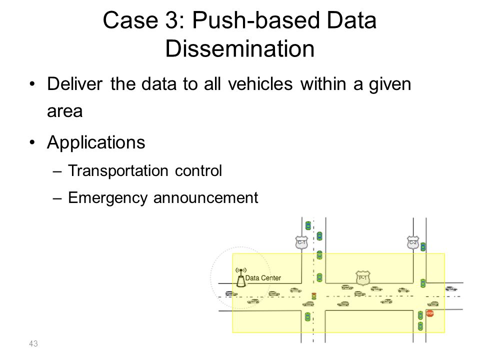 Case 3: Push-based Data Dissemination Deliver the data to all vehicles within a given area Applications –Transportation control –Emergency announcement 43